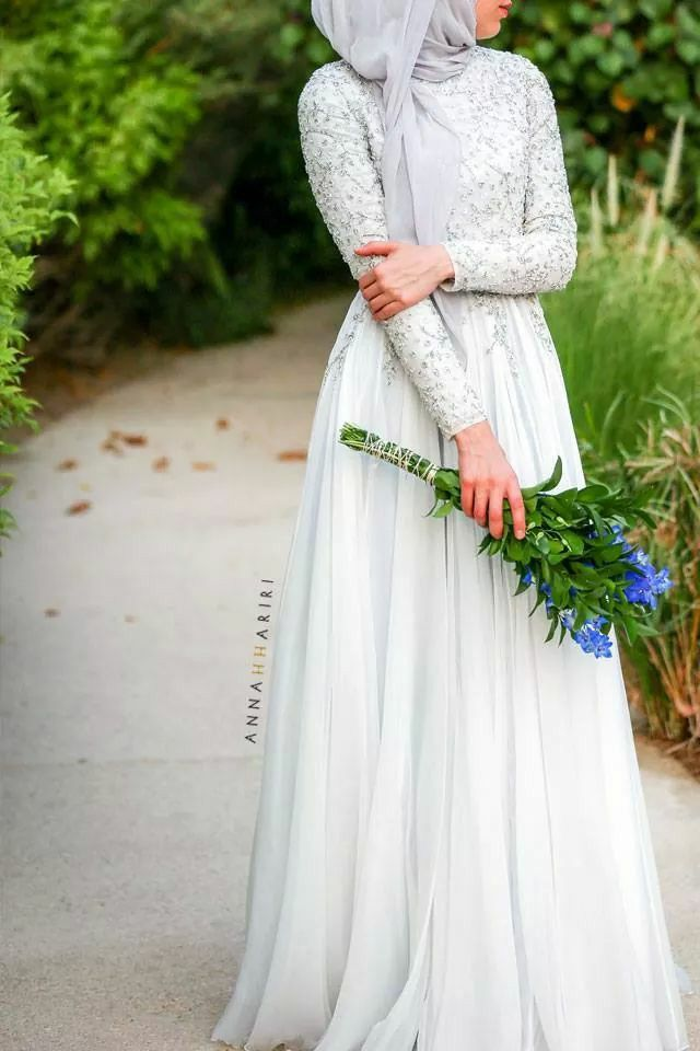 White maxi dress with chiffon skirt + Grey scarf / Hijab style / engagement dresses / dress with modesty .
