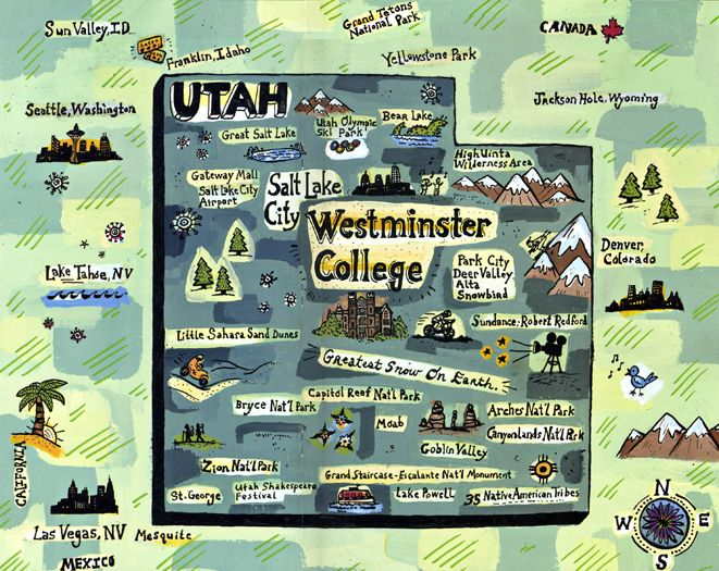 westminster college map, Utah   Gina Triplett | Illustrated Maps
