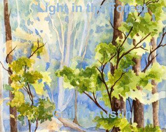 Kunst aan de muur worden afgedrukt - aquarel - schilderij bos ~ Wall Art ~ Art Print ~ landschap ~ aquarel boom Art ~ aquarel Forest ~ Art ~ Woodland art