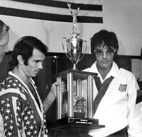 """Bill """"superfoot"""" Wallace and Elvis. A number of the Memphis Mafia members have said that Elvis was deadly at karate."""