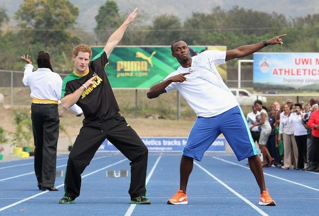 Prince Harry and Usain Bolt - you can always count on a ginger to make a picture look ridiculous.