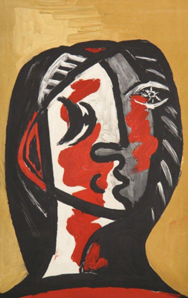 Pablo Picasso - Tete de Femme en Gris et Rouge sur Fond Ochre, 1926