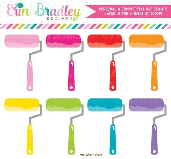 Paint Roller Clipart Graphics Painting House Diy Projects Clip Etsy In 2021 Clip Art Paint Roller Paint Party