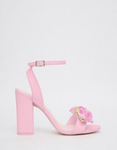 Pink Floral Heeled Sandals xx