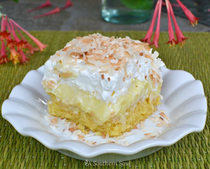Luscious cake with pineapple and coconut, topped with fresh whipped cream and toasted coconut flakes is a dessert that memories are made of. Tropical fruit flavors have always been a favorite in my…