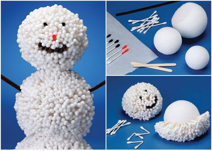 snowman craft. This seems a bit time-consuming to me, How about using small cotton balls?