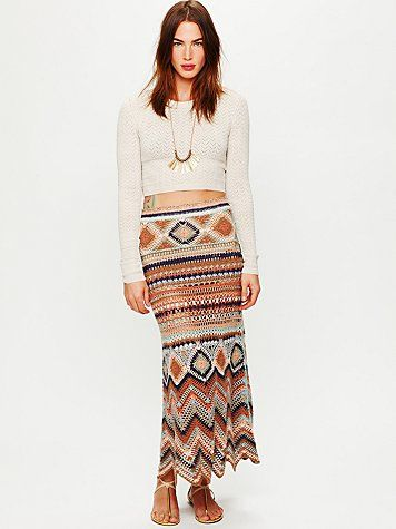 Jezebelle Maxi Skirt: It's crocheted, but I think I can makeup a knitting pattern as I go.  It might take me months, but I could do it in time for fall!  Midriff blouse: not me at all...
