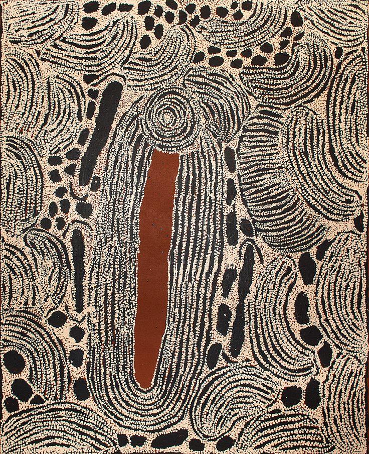 Artiste : Ningura Napurrula Titre de l'œuvre : Women ceremonies - Sacred Rockholes Format : 153 x 122 cm Provenance et certificat : centre d'art de Papunya Tula Le certificat original du centre d'art Aborigène de Papunya Tula sera remis avec l'œuvre. Référence de la peinture :NN080