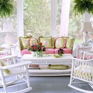 Would love this on my porch!: Shabby Chic Styles, Screens Porches, Sunrooms, Outdoor Rooms, Wicker Furniture, Pink, Frontporch, Sun Rooms, Front Porches