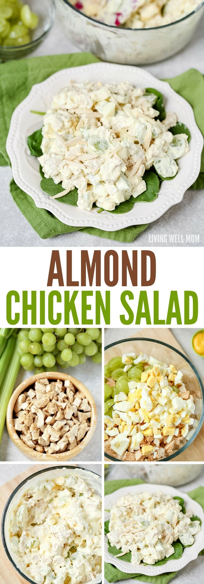 This delicious Almond Chicken Salad has slivered almonds, grapes, celery, and hard-boiled eggs tossed with cooked chicken and combined with mayo, sour cream, and seasoning. It's perfect for a delicious lunch or even enjoyed as supper on a hot summer day.