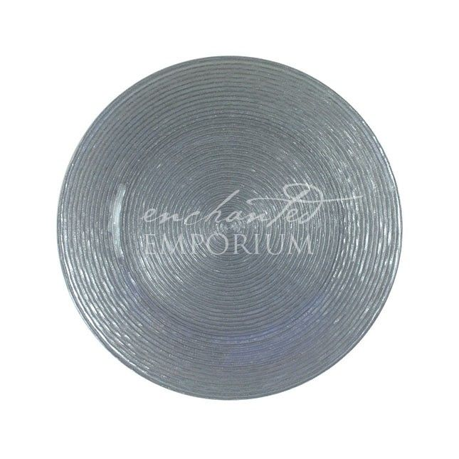 Silver Ripple Glass Charger Plates, Enchanted Emporium
