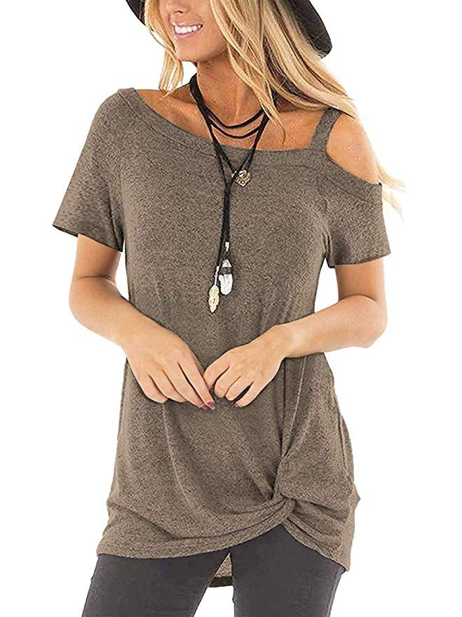 Womens Top Short Sleeve V Neck Summer Tunic Tops Ruched Front T Shirt Print Lace Harf T-shirt