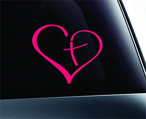 Heart with cross bible christian symbol decal funny car truck sticker window pink expressdecor