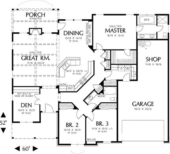 Plan 69022am Single Story Home Plan