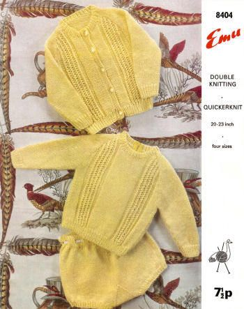 Cardigan & Pullover Sweaters & Panties Knitting Pattern for download - Four Sizes 1 - 4 years Chest Sizes 20 - 23 inches
