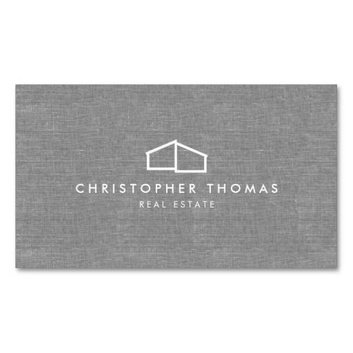 Modern Home Logo on Linen for Real Estate, Realtor Double-Sided Standard Business Cards (Pack Of 100)