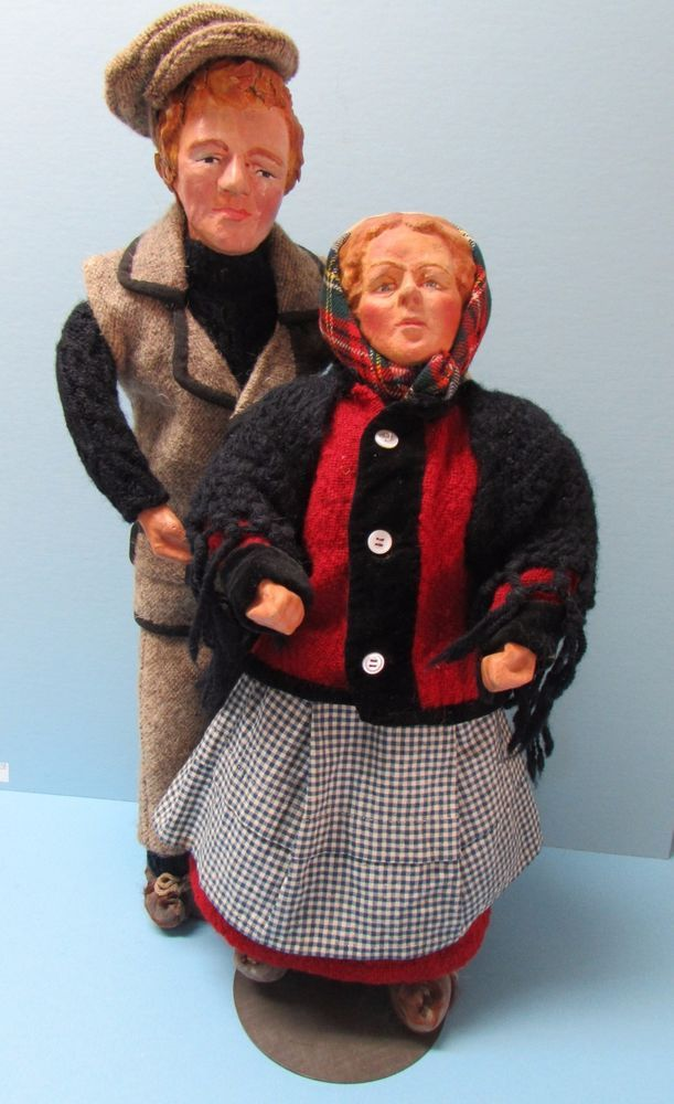 LARGE COUPLE OF HANDCRAFTED DOLLS - MADE ON ARAN ISLANDS - IRISH FREE STATE