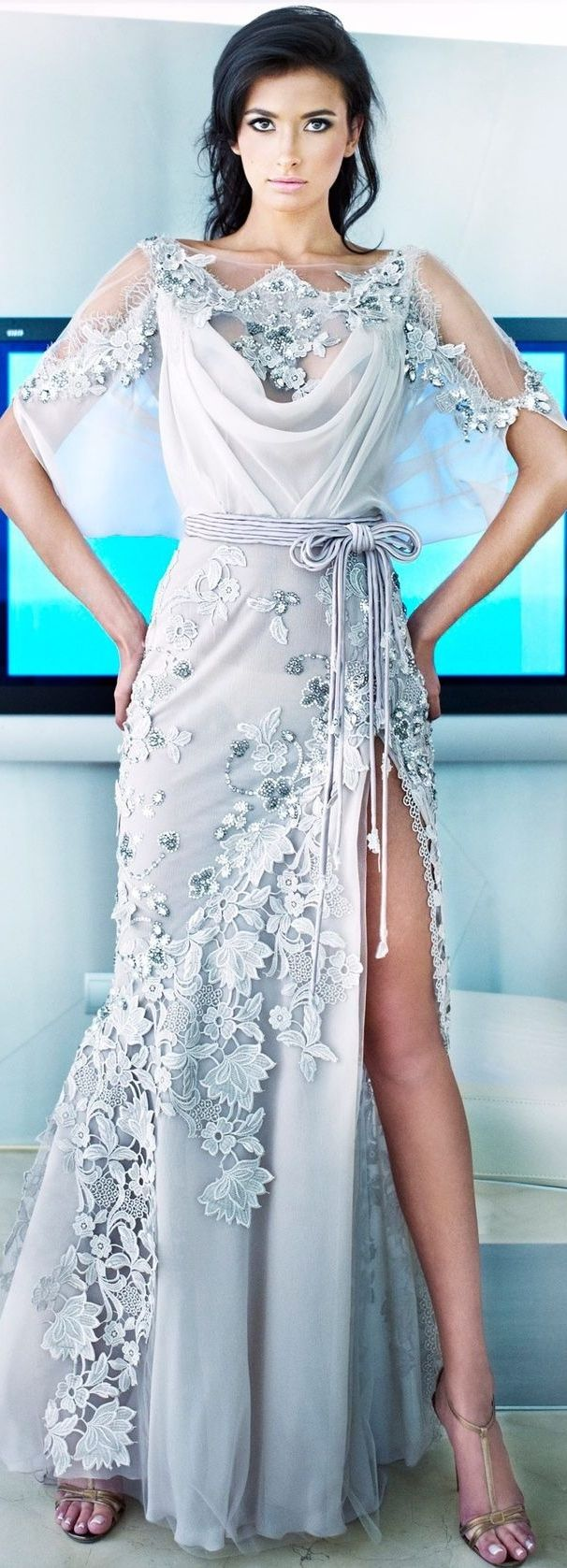 Ziad Nakad♥✤ | KeepSmiling | BeStayClassy | White lace dress with side slit