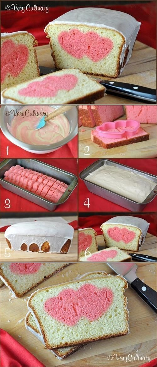 DIY Romantic Heart Cake DIY Projects http://veryculinary.com/2013/02/04/valentines-day-peek-a-boo-pound-cake/