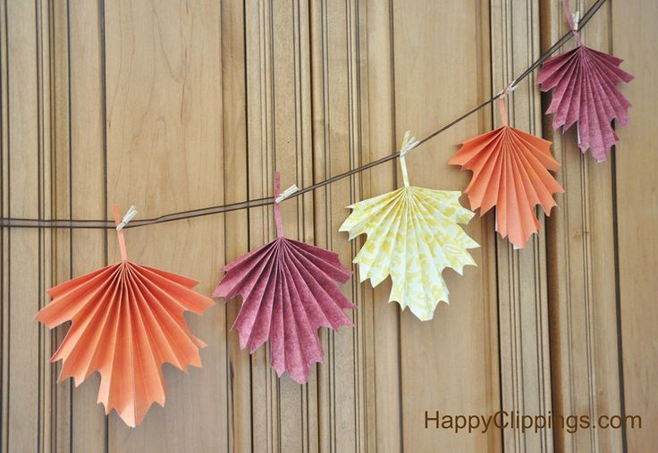 diy folded paper fall leaves