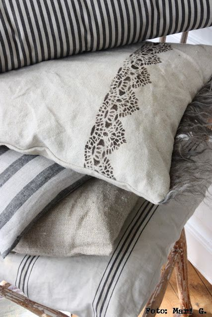Vintage linen and ticking