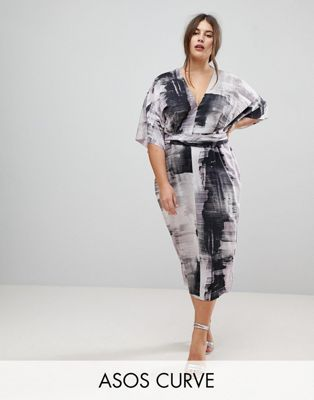 7e03588a421 ASOS CURVE Kimono Dress in Abstract Print
