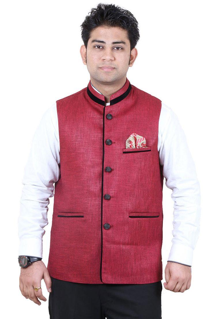 http://tinyurl.com/jh4ebum Buy Online Attractive & Fancy GETABHI Maroon Cotton Modi Jackets at GetAbhi.com
