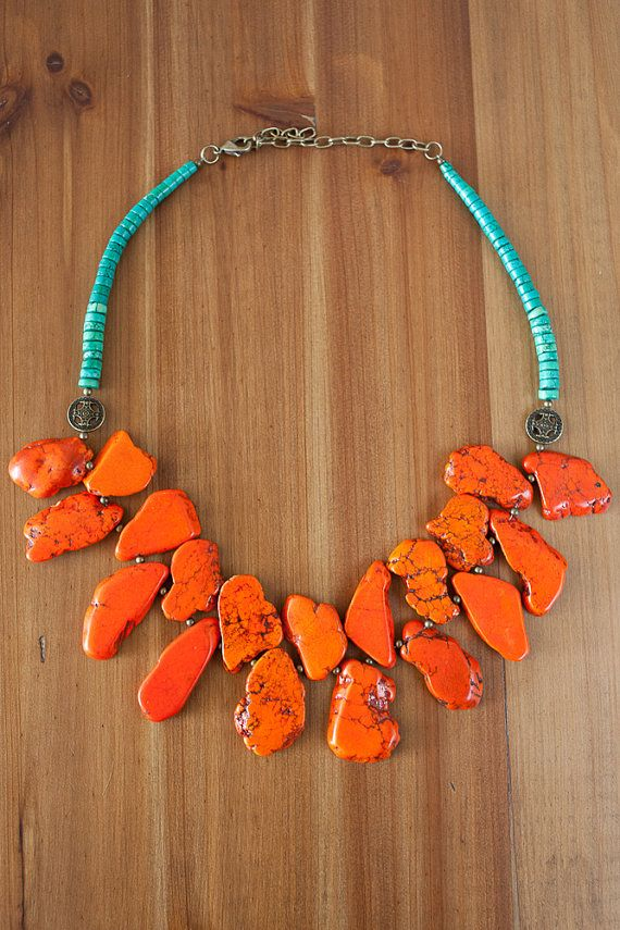 Chunky Orange and Green Turquoise Statement Necklace/Chunky Turquoise Necklace/Turquoise Boho Necklace/Tribal Statement Necklace/Stone Bib