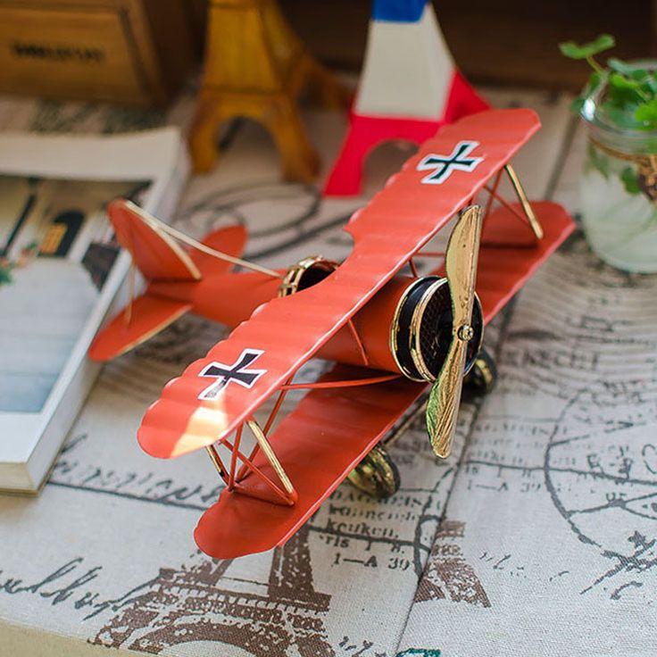 Free Shipping(1pcs/lot)Retro Both Wings Aircraft Model Home Furnishing Decoration Creative Home Furnishing Ornaments Plane Model #Affiliate