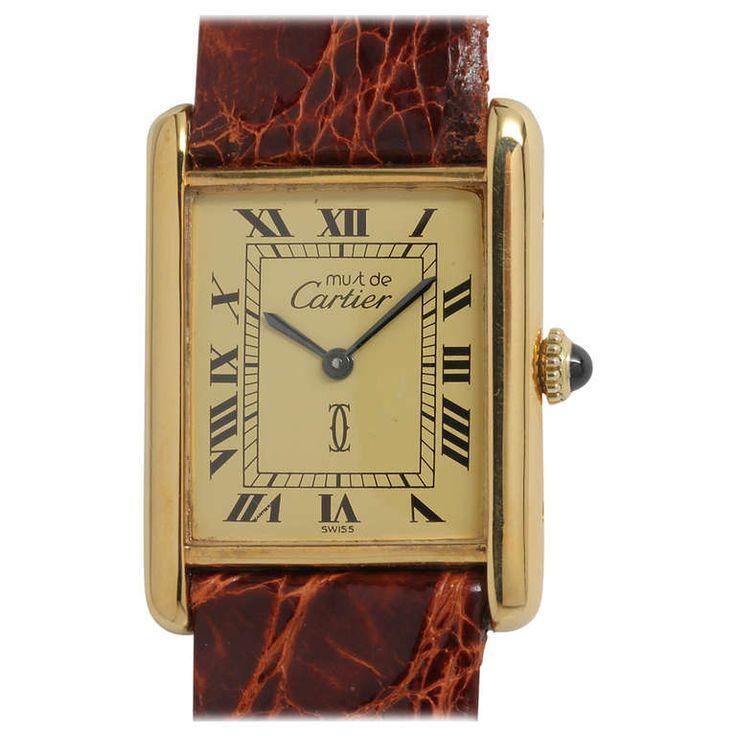 Cartier Silver-Gilt Must de Cartier Man's Tank Louis Wristwatch circa 1980s 1450