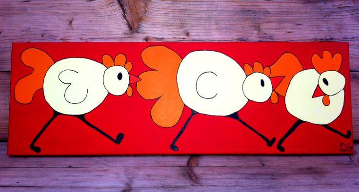 VERKOCHT! 90x30x1 Als kip zonder kop!  45 euro! Het derde kippenschilderij in de collectie en ze blijven leuk en gezellig   Schilderingen op aanvraag ook altijd mogelijk. Dit is naar eigen wensen/ kleurcombinaties samen te stellen. Voor meer informatie - www.dbhomelycartoons.com   #DBHomelyCartoons