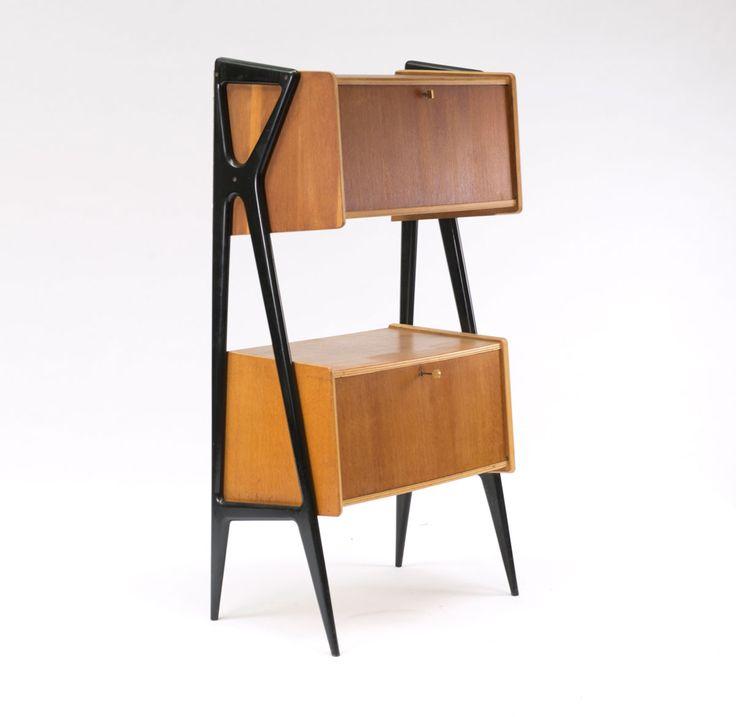 Louis Paolozzi; Oak and Brass Cabinet for René Gotfrid, 1953.
