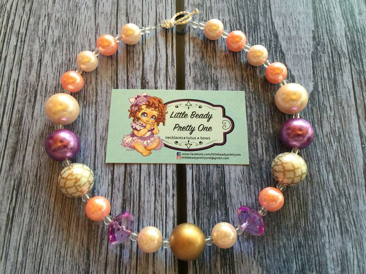 "Cute bubble gum necklace in the design titled ""Ainsley"". Perfect finishing touch for those special occasion photos. #Jewelry #beads #necklace #babygirl #baby-shower #littlebeadyprettyone"