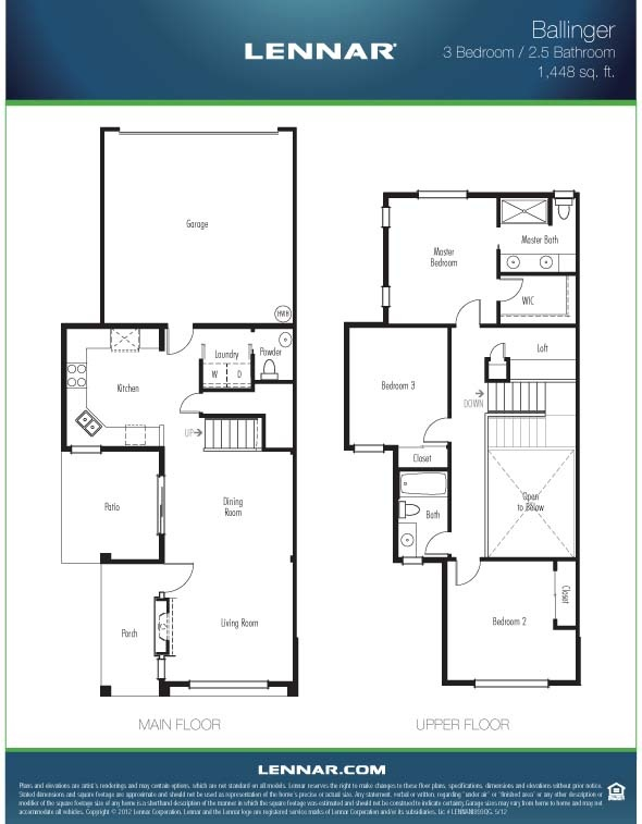 The ballinger townhome 1448 square feet with 3 bedrooms for 3 bedroom townhouse plans