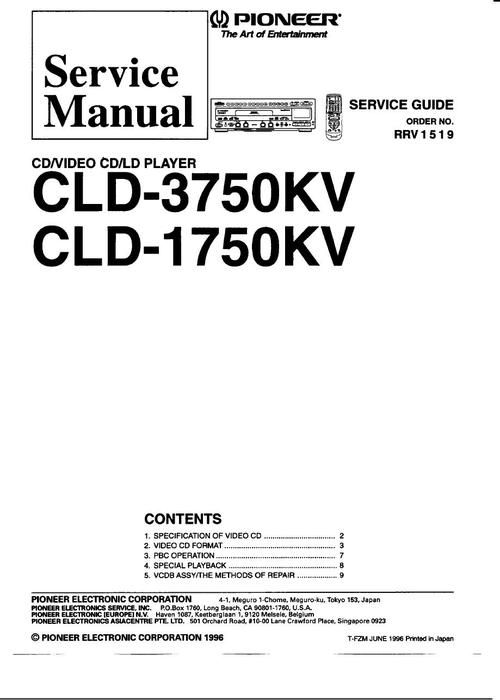 Pioneer CLD-1750KV , CLD-3750KV Laser Disc , Service Manual * PDF format suitable for all DOWNLOAD