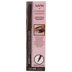 NYX Eyebrow Marker in 'Deep'.  Madie you have to try this stuff... I use medium and love LOVE love it!!  It doesn't come off unless you take it off (even if you rub it after it dries) and it works like a marker!!  Bye-Bye eyebrow pencils... YOU HAVE TO TRY IT!! I MEAN IT!! GO BUY IT TODAY... ULTA carries it!!   @Madie Welker Brandenburg