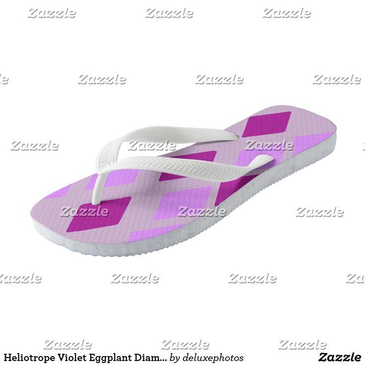 Heliotrope Violet Eggplant Diamonds Flip Flops