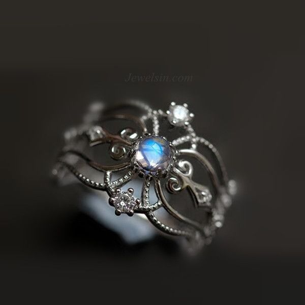 Chic antique art deco blue moonstone promise ring in sterling silver