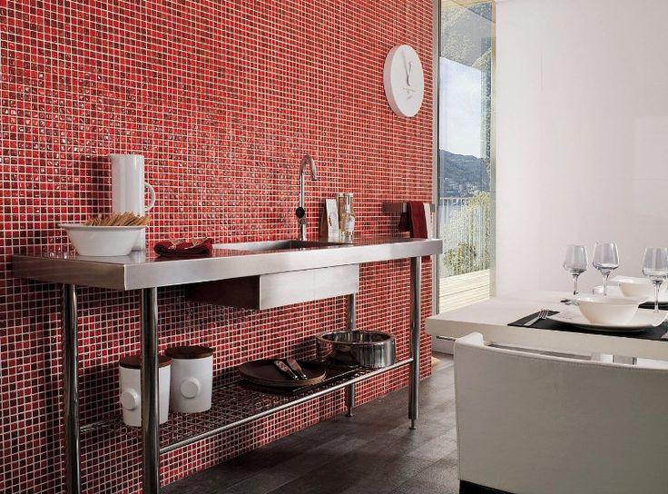 Porcelanosa 'Murano Rojo' Tile | Ceramic tile with the appearance of glass mosaic | Ceramo
