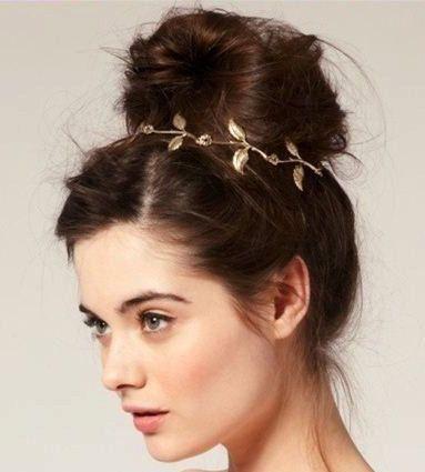 Schöne Blattgold griechische Göttin Stirnband griechischen Eddera Griechenland Boho Halo Black elastische Toupet