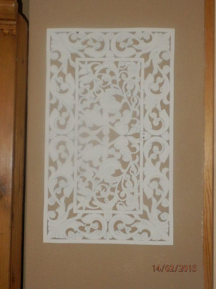 Rubber deurmat geverfd met Amazona krijtverf antiek wit