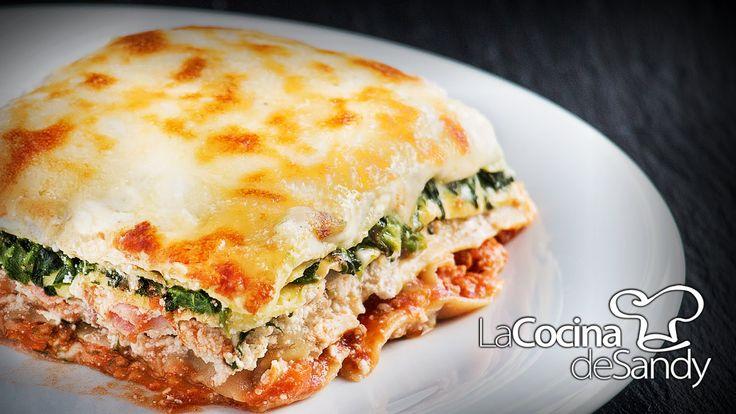 Como hacer lasaña o lasagna casera de ricotta salsa boloñesa espinaca y ...