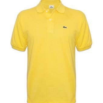 FOR SALE!!!  LACOSTE CLASSIC MEN'S POLO SHIRT (Light Yellow) With Euro double tag, Made in Peru Designed in France print With devanlay care tag inside  Two mother of pearl buttons Thick stitches on hem Crocodile applique on the left chest