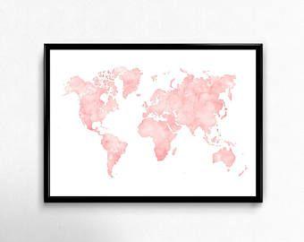 15 mejores imgenes de world map art en pinterest arte mapamundi blue watercolor world map wall art map print map art world map poster wanderlust art print office decor navy blue map gumiabroncs Image collections