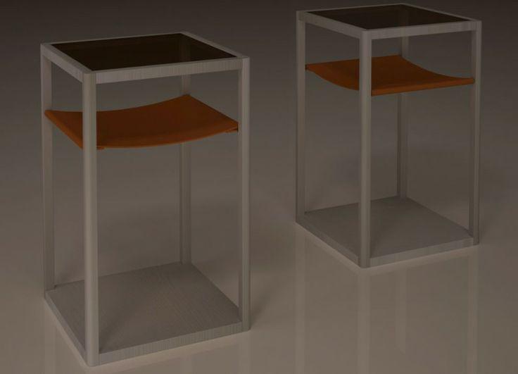 """Minimo è un """"side table"""" dai tratti semplici e dal carattere versatile. Costituito da un solido telaio in legno, con spigoli stondati, verniciato con colori ad acqua, un piano di vetro nella parte superiore ed un ripiano intermedio di morbida pelle; è stato pensato per essere facilmente inserito in vari tipi di scenari, dove ben si accompagna ai diversi stili, materiali e colori."""