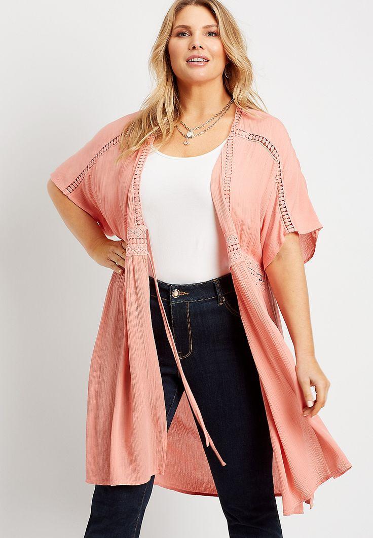Plus Size Crochet Tie Waist Duster Kimono   maurices Plus Size Blazer, Plus Size Leggings, Plus Size Jeans, Plus Size Cardigans, Plus Size Blouses, Trendy Plus Size, Plus Size Tops, Size Zero, Plus Size Outfits