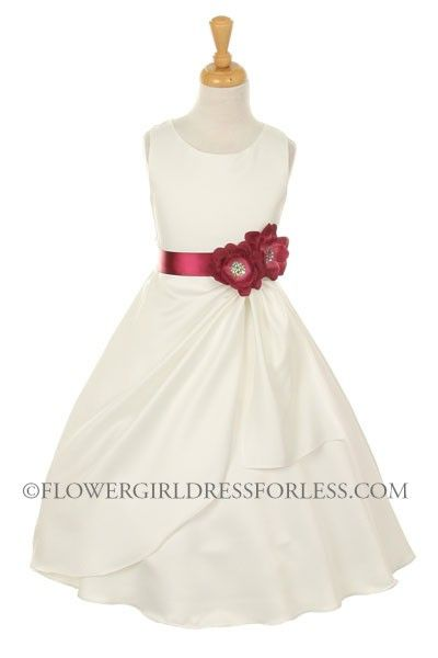 CC_1165BUR - Girls Dress Style 1165- Choice of White or Ivory Dress with Burgundy Ribbon and Flower - Classic All Satin - Flower Girl Dress For Less