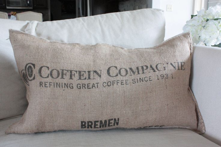Farmhouse Burlap Couch/Bed Pillow, Coffee Jute Sack, Feed Sack, 15x26 Farmhouse Pillow, Rustic Bed Pillows, Vintage Pillow by EclecticHomeMarket on Etsy https://www.etsy.com/listing/503457262/farmhouse-burlap-couchbed-pillow-coffee