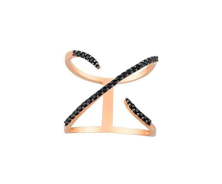rose gold ring with black stones in 14K