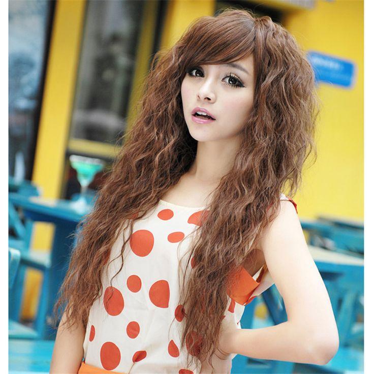 Cheaps женщин толстая парики синтетические волосы каштановые пермь парики тепла устойчив вьющиеся кукурузы парик длинные черные волнистые пушистый парик косплей ло